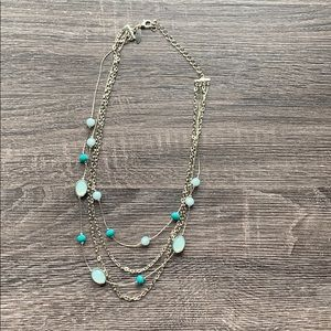 💕Silver Necklace with Blue Beads💕